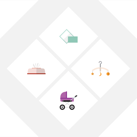 Flat Icon Child Set Of Tissue, Napkin, Stroller And Other Vector Objects. Also Includes Baby, Tissue, Box Elements.