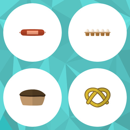 Flat Icon Eating Set Of Eggshell Box, Tart, Cookie And Other Vector Objects. Also Includes Pie, Cookie, Egg Elements.