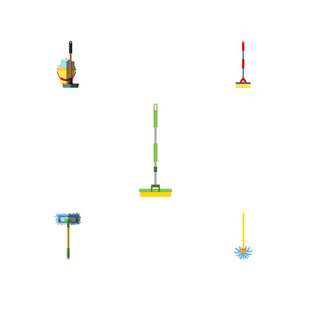 Flat Icon Mop Set Of Besom, Mop, Broomstick And Other Vector Objects. Also Includes Mop, Besom, Broom Elements.
