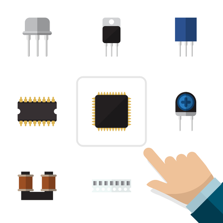 electronic components: Flat Icon Device Set Of Coil Copper, Receiver, Cpu And Other Vector Objects. Also Includes Access, Memory, Fiildistor Elements.