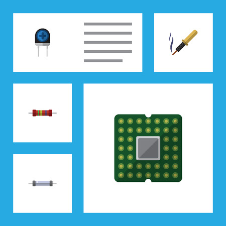 electronic components: Flat Icon Device Set Of Transducer, Repair, Resistor And Other Vector Objects. Also Includes Transducer, Iron, Central Elements. Illustration