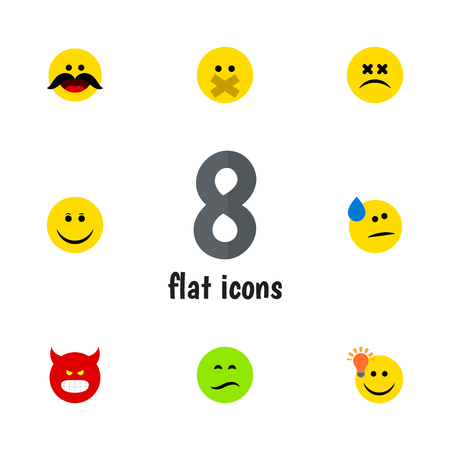 Flat Icon Face Set Of Frown, Joy, Cross-Eyed Face And Other Vector Objects. Also Includes Cheerful, Face, Frown Elements. Stok Fotoğraf - 86701739