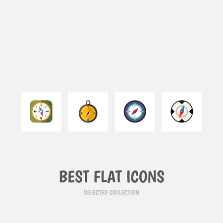 Flat Icon Orientation Set Of Navigation, Orientation, Magnet Navigator And Other Vector Objects. Also Includes Compass, Magnet, Navigator Elements.