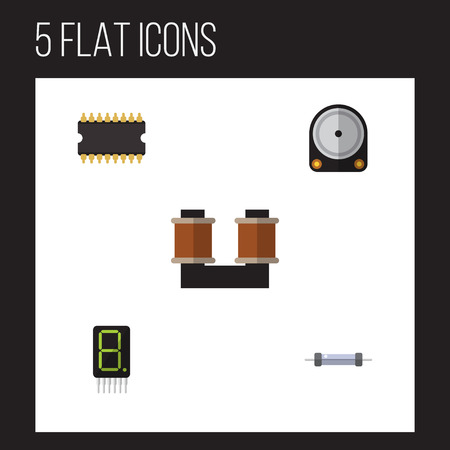 electronic components: Flat Icon Appliance Set Of Calculate, Resistor, Coil Copper And Other Vector Objects. Also Includes Hdd, Display, Copper Elements.