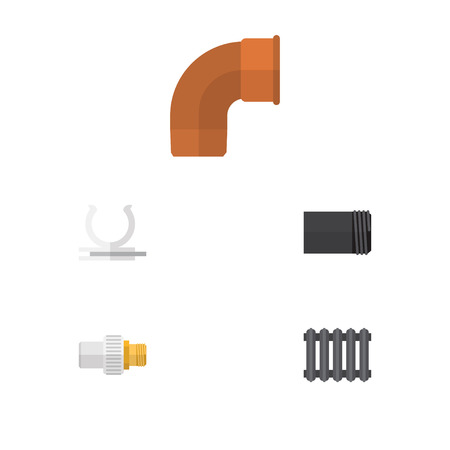 Flat Icon Pipeline Set Of Heater, Conduit, Iron And Other Vector Objects. Also Includes Water, Tube, Plumbing Elements.