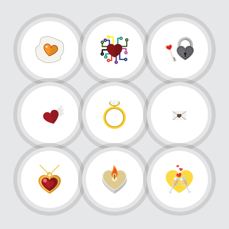 Flat Icon Heart Set Of Scrambled, Necklace, Emotion And Other Vector Objects. Also Includes Fire, Engagement, Wax Elements.