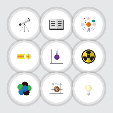 Flat Icon Knowledge Set Of Scope, Electrical Engine, Chemical And Other Vector Objects. Also Includes Dangerous, Tube, Radiation Elements.