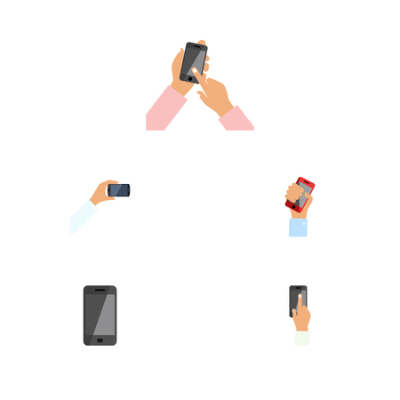 Flat Icon Phone Set Of Cellphone, Interactive Display, Touchscreen And Other Vector Objects. Also Includes Interactive, Telephone, Keep Elements. Çizim