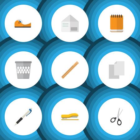 Flat Icon Equipment Set de crayon, collant, corbeille et autres objets vectoriels. Comprend également un panier, des ciseaux et des éléments de classement. Banque d'images - 86701796