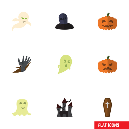 Flat Icon Halloween Set Of Zombie, Ghost, Fortress And Other Vector Objects. Also Includes Grave, Ghost, Spirit Elements.
