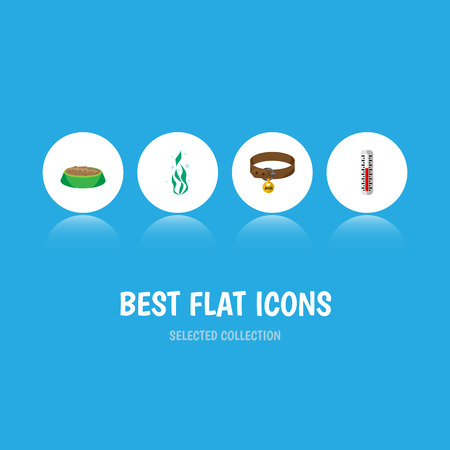 Flat Icon Animal Set Of Rabbit Meal, Temperature Measurement, Seaweed And Other Vector Objects. Also Includes Temperature, Food, Measurement Elements. Çizim