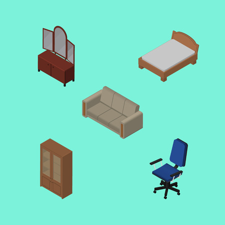 Isometric Furnishing Set Of Drawer, Office, Cabinet And Other Vector Objects. Also Includes Chair, Sofa, Settee Elements. Illustration