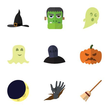 Platte pictogram vieren Set van bezem, Phantom, graf en andere Vectorobjecten. Omvat ook Halve maan, Hoed, Middernacht Elementen.