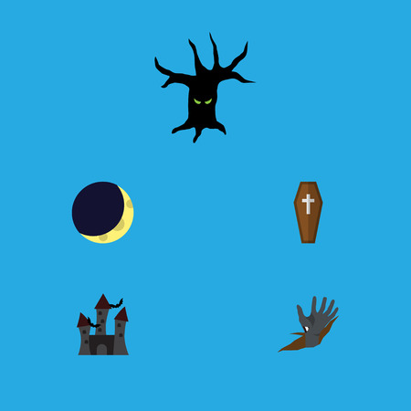 Flat Icon Celebrate Set Of Terrible Halloween, Casket, Crescent And Other Vector Objects. Also Includes Midnight, Castle, Monster Elements. Illustration