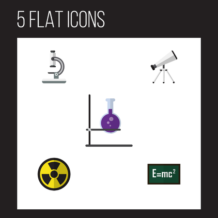 Flat Icon Science Set Of Scope, Irradiation, Flask And Other Vector Objects. Also Includes Optical, Theory, Relativity Elements.