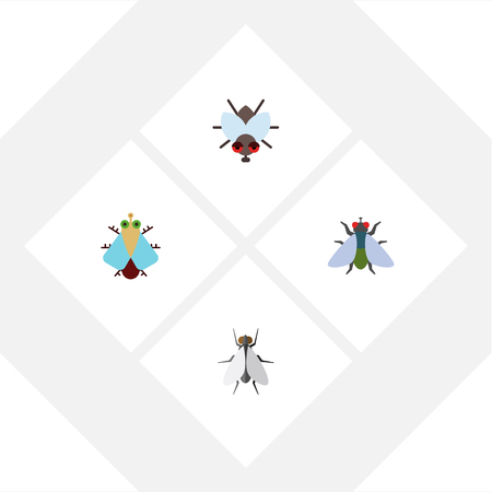 Flat Icon Buzz Set Of Tiny, Fly, Hum And Other Vector Objects. Also Includes Tiny, Buzz, Fly Elements.