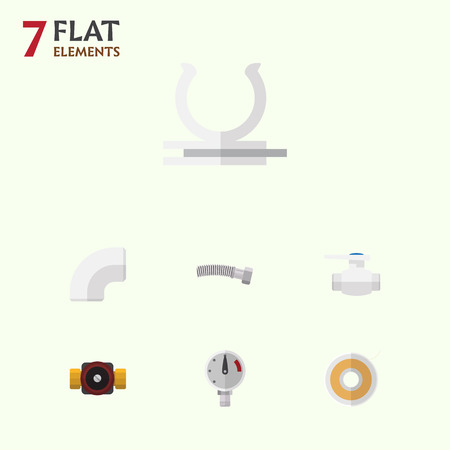Flat Icon Plumbing Set Of Pressure, Tap, Roll And Other Vector Objects. Also Includes Faucet, Coiled, Plastic Elements. Illustration