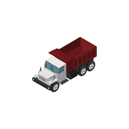 Isolated Autotruck Isometric. Freight  Vector Element Can Be Used For Freight, Car, Truck Design Concept.