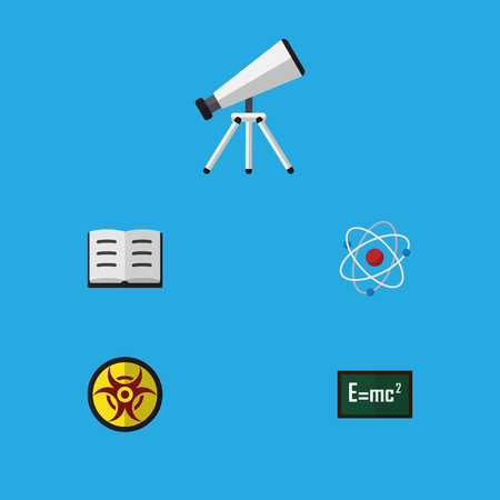 Flat Icon Study Set Of Orbit, Theory Of Relativity, Danger And Other Vector Objects. Also Includes Theory, Atom, Glass Elements.