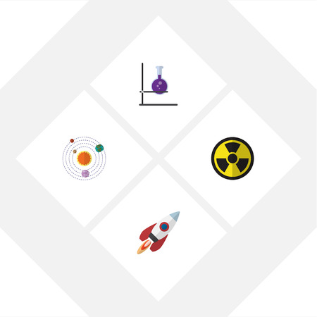 irradiation: Flat Icon Study Set Of Flask, Irradiation, Spaceship And Other Vector Objects. Also Includes Planets, Tube, Radiation Elements. Stock Photo