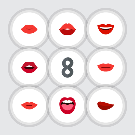 Flat Icon Mouth Set Of Lips, Lipstick, Tongue And Other Vector Objects. Also Includes Rouge, Kiss, Tongue Elements.