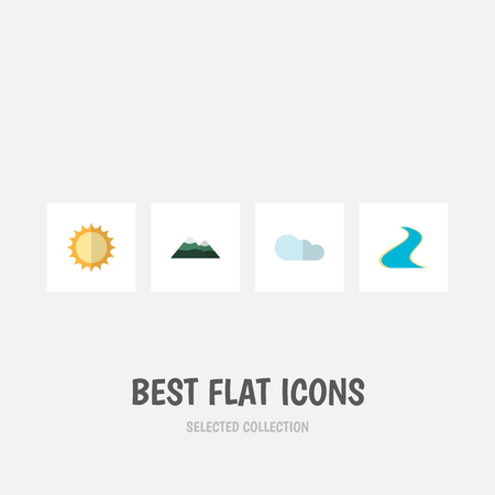 Flat Icon Natural Set Of Tributary, Solar, Overcast And Other Vector Objects. Also Includes Estuary, River, Overcast Elements.