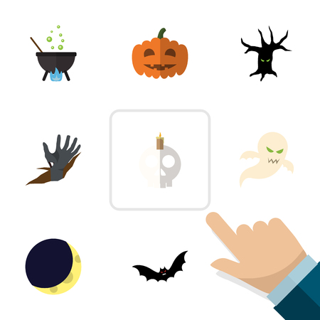 Flat Icon Halloween Set Of Magic, Zombie, Crescent And Other Vector Objects. Also Includes Specter, Bat, Midnight Elements.