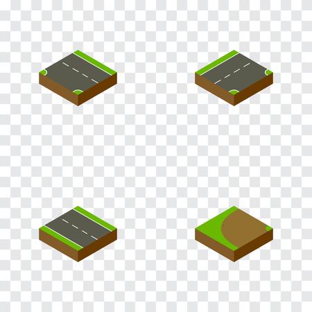 아이소 메트릭 방법은 아래쪽, 단일 차선, 터 닝 및 다른 벡터 개체를 설정합니다. 또한 터닝, 레인, 단일 요소가 포함됩니다.