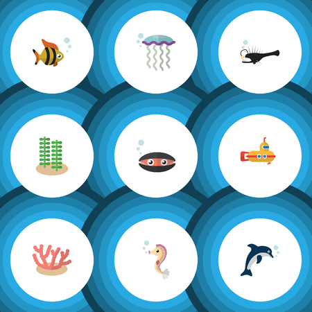 Flat Icon Sea Set Of Scallop, Fish, Periscope And Other Vector Objects. Also Includes Hippocampus, Melanocetus, Sea Elements.