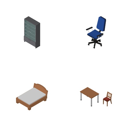 Isometric Furniture Set Of Office, Sideboard, Bedstead And Other Vector Objects. Also Includes Table, Bedstead, Bed Elements. Illustration