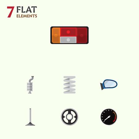 Flat Icon Component Set van auto-onderdeel, riem, krukas en andere vectorobjecten. Omvat ook snelheid, achterlicht, spiegelelementen.