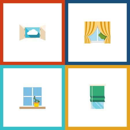 Flat Icon Frame Set von Glasrahmen, Blumentopf, Balkon und andere Vektor-Objekte. Beinhaltet auch Balkon, Blume, Fensterelemente. Standard-Bild - 86847911