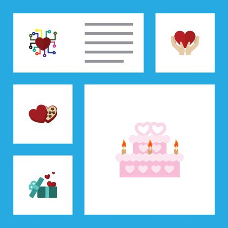 pareja comiendo: Flat Icon Amour Set Of Save Love, Gift, Patisserie And Other Vector Objects