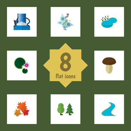 Flat Icon Nature Set Of Cascade, Canadian, Monarch And Other Vector Objects. Also Includes Tributary, Estuary, Forest Elements.
