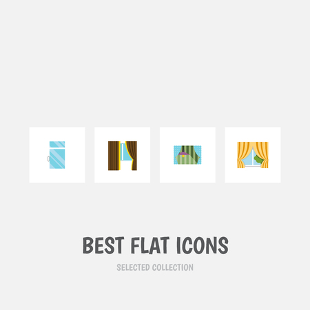 Flat Icon Frame Set Of Glass Frame, Clean, Curtain And Other Vector Objects. Also Includes Clean, Window, Curtain Elements. Ilustrace