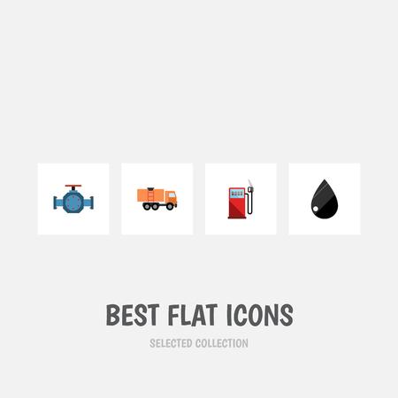 플랫 아이콘 석유 가솔린, 플랜지, 방울 및 다른 벡터 객체의 집합입니다. 또한 휘발유, 물방울, 파이프 요소를 포함합니다. 일러스트