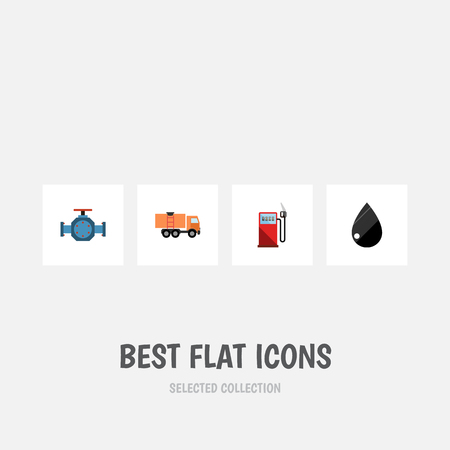 Flat Icon Oil Set Of Petrol, Flange, Droplet And Other Vector Objects. Also Includes Petrol, Droplet, Pipe Elements.