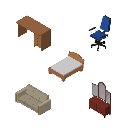 Isometric Design Set Of Bedstead, Table, Drawer And Other Vector Objects. Also Includes Sofa, Couch, Desk Elements.