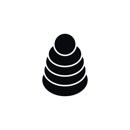Icono de la torre aislada. El elemento del vector del juguete se puede utilizar para la pirámide, juguete, concepto de diseño de la torre. Foto de archivo - 86991418