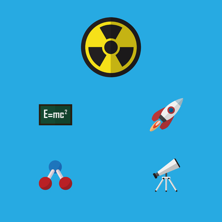 Flat Icon Knowledge Set Of Theory Of Relativity, Nuclear, Scope And Other Vector Objects. Also Includes Engine, Water, Rocket Elements.