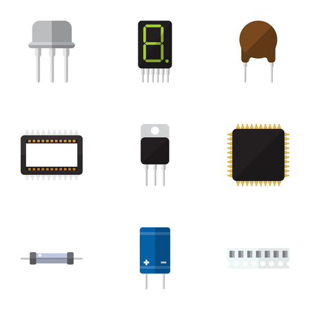 electronic components: Flat Icon Technology Set Of Mainframe, Transistor, Calculate And Other Vector Objects Illustration