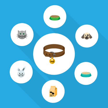Flat Icon Pets Set Of Hound Necklace, Bunny, Rabbit Meal And Other Vector Objects. Also Includes Hound, Box, Pussy Elements.
