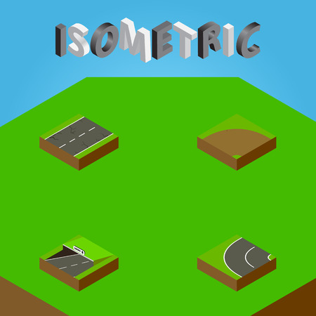 Isometric Road Set Of Subway, Sand, Way Vector Objects