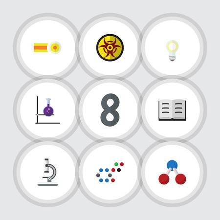 opinion: Flat Icon Study Set Of Lightbulb, Flask, Molecule And Other Vector Objects