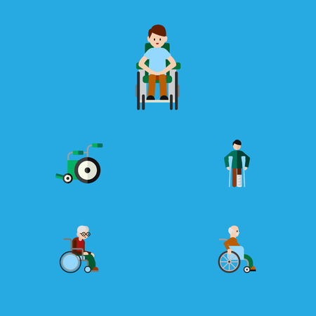 Flat Icon Cripple Set Of Equipment, Disabled Person, Wheelchair And Other Vector Objects. Also Includes Handicapped, Disabled, Wheelchair Elements.