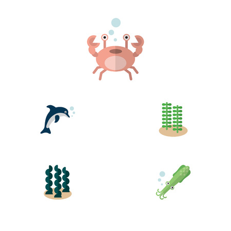 Flat Icon Marine Set Of Playful Fish, Cancer, Alga And Other Vector Objects. Also Includes Fish, Tentacle, Octopus Elements.