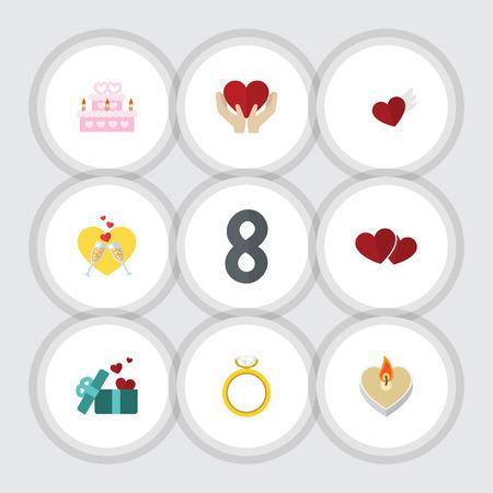 Plat Icon Love Set d'ailes, âme, cadeau et autres objets vectoriels. Comprend également le gâteau, le mariage, les éléments de sentiment.