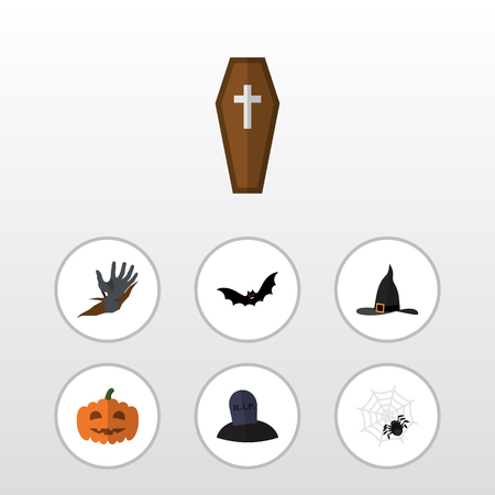 Flat Icon Festival Set Of Witch Cap, Casket, Gourd And Other Vector Objects. Also Includes Pumpkin, Tomb, Spider Elements.