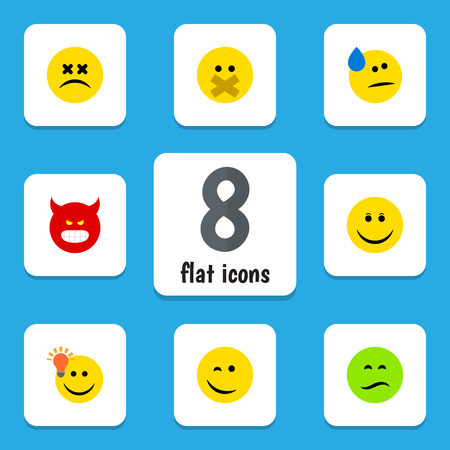 opinion: Flat Icon Emoji Set Of Cross-Eyed Face, Have An Good Opinion, Pouting And Other Vector Objects. Also Includes Face, Happy, Emoji Elements.
