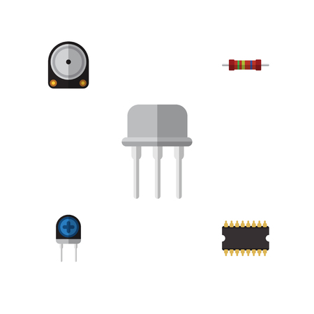 electronic components: Flat Icon Technology Set Of Microprocessor, Resistance, Transducer And Other Vector Objects. Also Includes Recipient, Transistor, Processor Elements.
